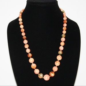 Vintage orange and cream vintage necklace 24""